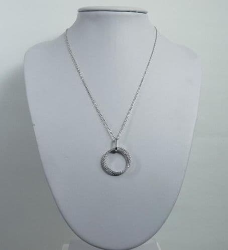 925 Sterling Silver Double Circle Stone Set with Simulated Diamonds Pendant & Chain